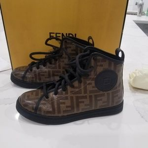 Fendi Brown Ff Logo High-top Boot Sneakers